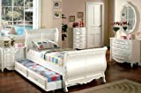 Inland Empire Furniture Alexandra Pearl White Solid Wood Sleigh Bed with Trundle Bed Twin Set