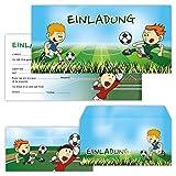 PAPERHELDEN 12 Fussball Einladungskarten mit 12 Umschlägen zum Kindergeburtstag   Geburtstags-Einladungen zur Fußball Party für Jungen & Mädchen