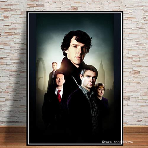 Póster Detective Sherlock Holmes Película Clásica Bar Cafetería Habitación Dibujo Hogar Decorativo Lienzo Pintura Pared Arte 40X60Cm Sin Marco