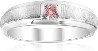 Mens Brushed Pink Diamond Lab Grown Wedding Brushed Anniversary Ring White Gold