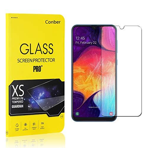 [1 Stück] Conber Panzerglas Schutzfolie für Samsung Galaxy A50, [9H Härte][Anti-Kratzen][Anti-Öl][Anti-Bläschen] Panzerglasfolie Displayschutz für Samsung Galaxy A50