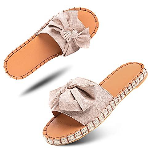 Sandalen Damen Pantoletten Espadrille Flach Schlappen Sommer Mules Frauen Bow Flache Sommerschuhe Hausschuhe Bequeme Beige Größe 40 EU