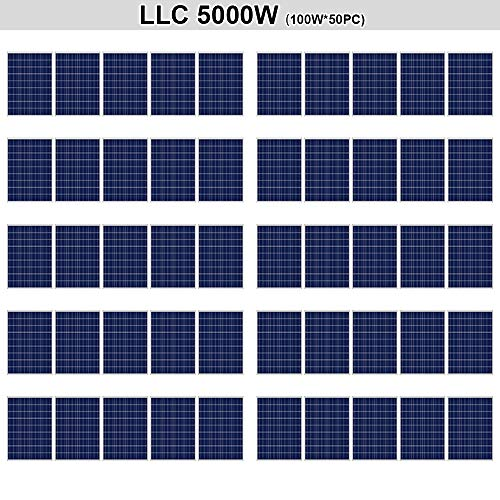 ECO LLC 5KW (5000W) Solar Panel DIY Solar Power Kit Ideal for Steel or Aluminium Sheet Roofs/Garage or Shed Roofs (50 pcs 100W Solar Panels)