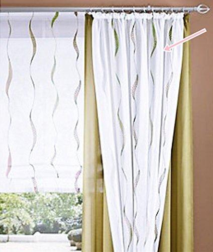 Gardine, 2 Stück, mit Kräuselband, Farbei Grün, Desing Wellenstreifen, Transparent, Waschbar, Maße HxB 225x140 cm