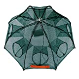 2-Pack Foldable Fishing Bait Trap Cast Net Cage with 18 Feets Nylon Rope for Catching Small Bait Fish Eels Crab Lobster Minnows Shrimp Crawfish(8 sides 8 Holes)