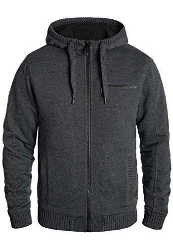 Blend Moreno Herren Winter Sweatjacke Kapuzen-Jacke Zip-Hoodie Pullover mit Teddy-Futter, Größe:M, Farbe:Charcoal (70818)