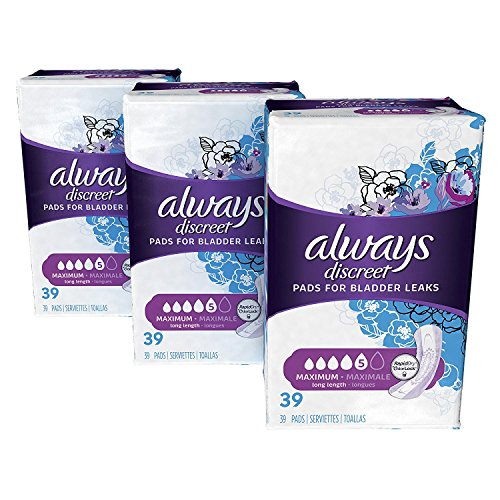 Always Discreet Incontinence Pads for Women, Maximum Absorbency, Long Length,(117 Total Count),39 Count (Pack of 3) (Packaging May Vary)