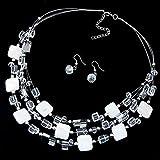 SHYSBV Collar Cuentas Multicapa Gargantilla Gema Collar De Cristal Collar Llamativo Colgantes Joyas para Mujeres-Estilo 2 Blanco