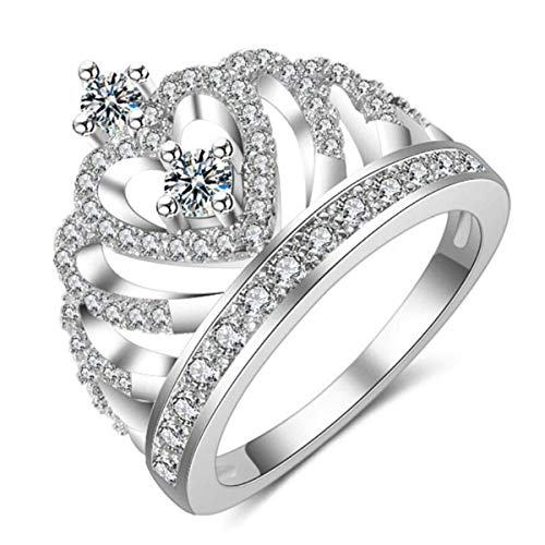 dc jewels Women's Princess Crown Elegant Silver Plated Adjustable Ring
