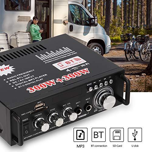 Docooler 12 V / 220V Mini Amplificador Audio Bluetooth,HiFi Audio Estéreo Amplificador 2CH Pantalla LCD de Alta fidelidad , BT FM Radio Portátil Auto Home 600 W, Mando a Distancia Audio Amplificador