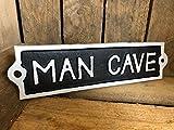 Antique Black Cast Iron Wall Garden Garage Gate Door Sign Plaque 'Man Cave'