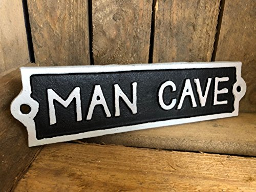 Antique Black Cast Iron Wall Garden Garage Gate Door Sign Plaque 'Man Cave'