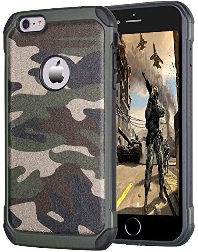 leobray for iPhone 7/8 case,Heavy Duty Protective Bumper Shockproof Armor Ultra Hybrid Rugged Camouflage Case for iPhone 7/8- Camo Green