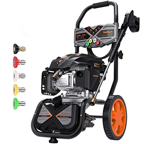 TACKLIFE Gas Pressure Washer 3200PSI, 2.4GPM 6.5HP, 5 Nozzles, 25FT Hose, High-Performance & Easy Move Pressure Washer, Soap Tank with Foam Cannon