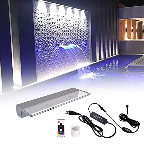 Pondo 60cm Acryl Wasserfall Mit 7 Farbvarianten LED Beleuchtung Und Fernbedienung für Gartenteich Pool Teich, Beleuchtete Wasserfall Garten Kaskade Mit LED Licht