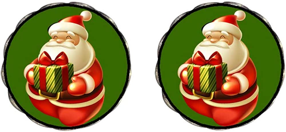 Bronze Retro Style Holding Christmas gifts Santa Claus Clip On Earrings Flower Earrings #12