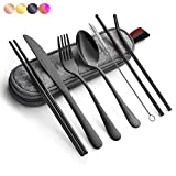 Black Travel flatware set with C...