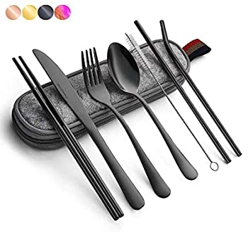 Black Travel flatware set with Case Stainless Steel silverware Tableware Set,Include Knife/Fork/Spoon/Straw  Portable black