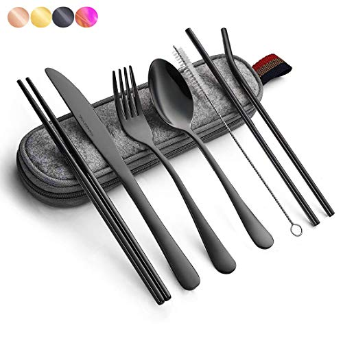 Black Travel flatware set with Case Stainless Steel silverware Tableware Set,Include Knife/Fork/Spoon/Straw (Portable black)