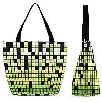 EIR 緑と白 正方形カスタム色 トートバッグ 小さめ レディース 通勤 通学 買い物 トートバック サイズのスクエアトート ミニサイズ おしゃれ 卒園式 入学式