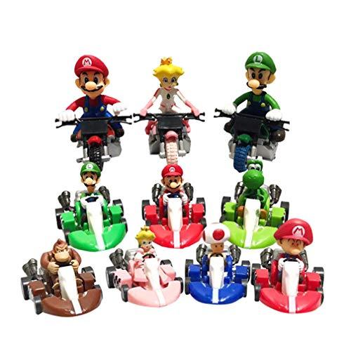 EASTVAPS 10pcs / Set Super Mario Bros Kart Pull Back Voiture Moto PVC Action Figure Jouet