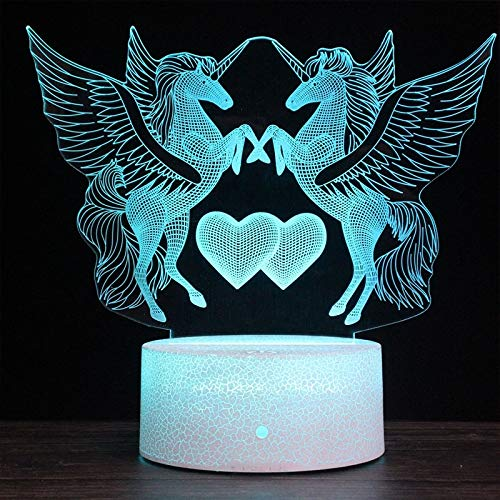 T-ara Calidad de Sonido de Alta fidelidad Versión táctil, Dos Unicornios Forma Creative Black Foundation 3D Colorful Decorative Night Clear Desk Desk Farp La tecnologia mas Nueva