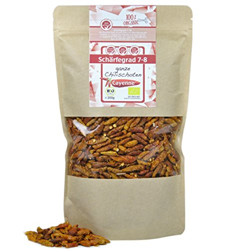 direct&friendly ganze scharfe Bio Chili Cayenne (200 GR)