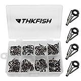 THKFISH Kit de reparación de cañas de Pesca Kit de reparación de Punta de Varilla Acero Inoxidable Guía de Anillo de cerámica Plata Bruñida 80piezas