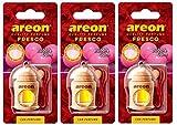 AREON Fresco Deodorante Auto Bubblegum Dolce da Appendere Specchietto Pendente Boccetta Rosso Legami 3D (Bubble Gum Set x 3)
