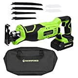 HAWKFORCE 20V Lithium Ion Cordless Reciprocating Saw Kit Variable Speed Trigger with 6 PCS Blades for Wood and Metal Cutting Ideal for Home and Garden (CRS20L)
