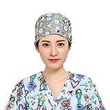 FENICAL Scrub Caps Gorra quirúrgica Ajustable de algodón Gorra de Enfermera médico para Mujeres niñas