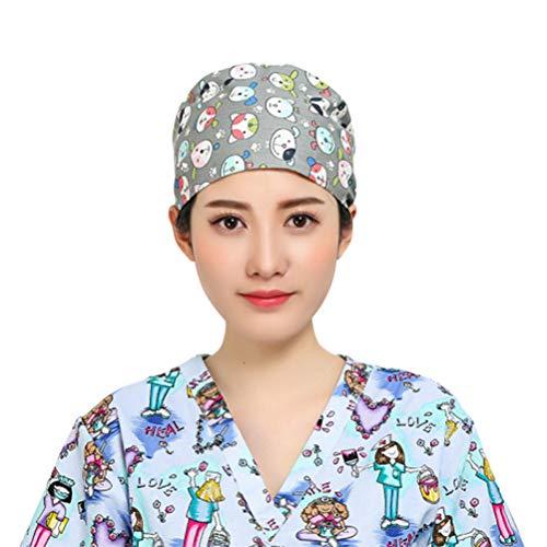 Blue FENICAL Scrub Cap Cotton Cat Printed Adjustable Tie Doctor Nurse Cap Surgery Hat Unisex Doctor Nurse Cap