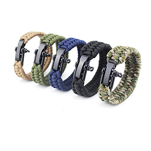 Amorar Bracelet de Survie réglable avec Boucle en Acier en Forme de U en paracorde Bracelet Flint Allume-feu pour Survie d'urgence ou Autres activités de Plein air, Mixte, Multicolore