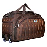 TEXON Unisex Polyester 40 litres Lightweight Waterproof Travel Duffle Bag with Roller Wheels (Brown)...