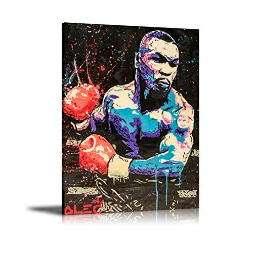 Boxeo Mike Tyson Arte Abstracto de la Pared Pintura Cartel Pintura de la Lona Impresión para la Sala de Estar Decoración para el hogar Impresión en Lienzo -60x80cm-Sin Marco