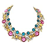 XingBeiBei Fashion Luxury Gem Flower Necklace Short Clavicle Retro Necklace (Color)
