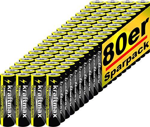 kraftmax 80er Pack Mignon AA 1,5V Alkaline Batterie - Xtreme Industrial Longlife Performance - Hochleistungs- Batterien für maximale Leistung - Neuste Version