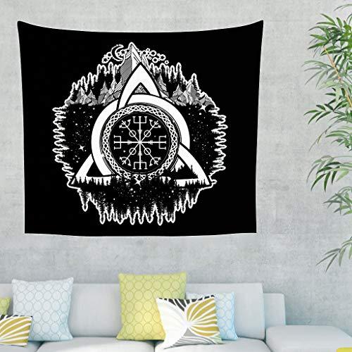 Tapiz de pared unicolor Vegvisir con diseño de luna, estrellas, bosque, celta, triunfo, nudo, casco, tättoo, tapiz de pared, tapiz vikingo 150 x 130 cm blanco
