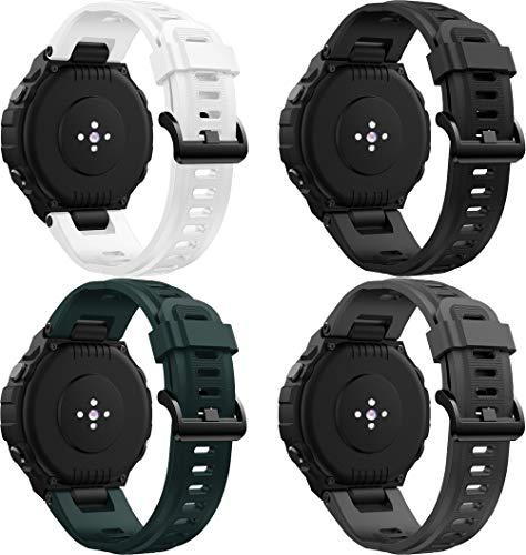 Abasic Bandas de Repuesto Compatible con Amazfit T-Rex, Reloj Correa de Silicona Suave Correas Pulseras Correa Deportiva Pulsera (4PCS D)