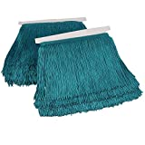 Heartwish268 Fringe Trim Lace Polyerter Fibre Tassel 6inch Wide 10 Yards Long for Clothes Accessories Latin Wedding Dress DIY Lamp Shade Decoration Black White Red(Peacock Blue)