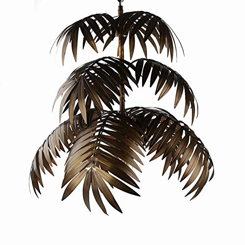 JEUNEU Vintage Adjustable Tropical Light Coconut Leaves Chandelier Unique Rustic Tree Lamps Living...
