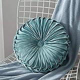 VINER Velvet Plisado Redondo Cojín Almohada Decorativa Sofá Cojines Decoración para el hogar, Azul