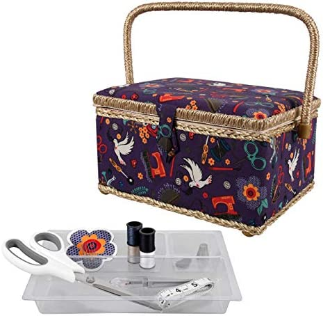 SINGER Sewing Basket with Sewing Kit Needles Thread Scissors and Notions Purple product image