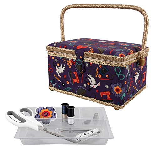SINGER Sewing Basket with Sewing Kit, Needles, Thread, Scissors, and Notions- Purple