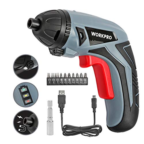 WORKPRO Cordless Rechargeable Power Screwdriver, Powered by 3.6V Li-ion Battery, USB Charging Cable and 10-Piece Bits Included