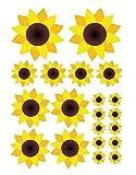 easydruck24de Aufkleber-Set Sonnenblumen I kfz_210 I Bogen DIN A4 I 20 Blümchen Sticker groß und klein wetterfest I Auto-Aufkleber Fahrrad-Aufkleber Roller