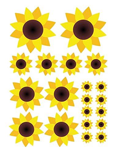 Juego de pegatinas girasoles | kfz_210 | laminas DIN A4 | 20 pegatinas de flores grandes y pequeñas resistentes a la intemperie | pegatina-coche pegatina-bicicleta scooter