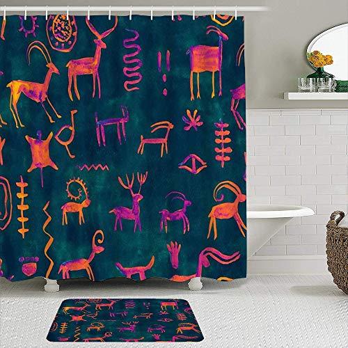ShopHM Duschvorhang Sets mit rutschfesten Teppichen,Hunter Pattern Handzeichnung Rock Green Wall Deer Rogen Mammut Schlange, Badematte + Duschvorhang mit 12 Haken