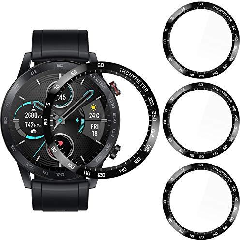 CAVN 3D Bildschirmschutz Kompatibel mit Honor Magic Watch 2 46mm Schutzfolie Mit Skala [3-Stück], 3D Gebogene Vollabdeckung Bildschirmschutzfolie Wasserdicht Anti-Kratzer Panzer Schutzhülle (Nicht für 42mm)