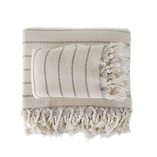 The Loomia Turkish Bath and Hand Towel Set of 2 - Deniz Series Made of Bamboo & Cotton (Extra Large Size, Cream Base Grey Stripes)